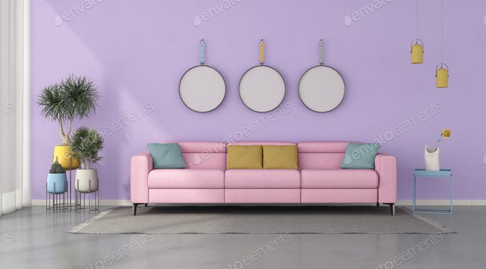 Colorful living room with pink modern sofa