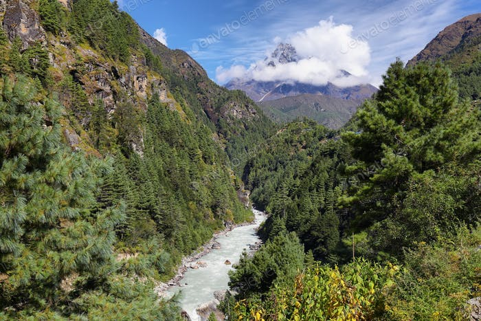 Scenic mountains and river near Namche Bazaar