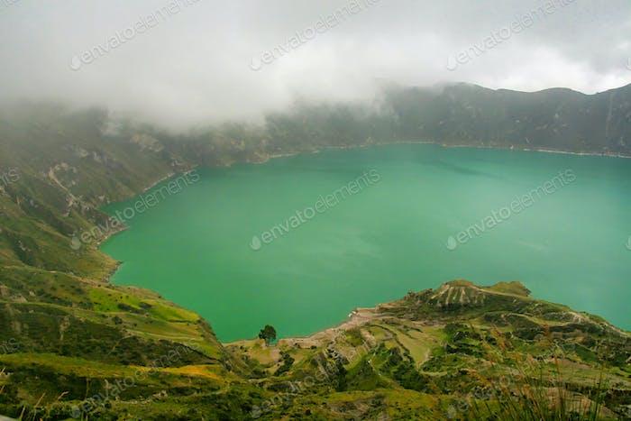 Lake-filled Quilotoa Caldera, Ecuadorian Andes, Ecuador
