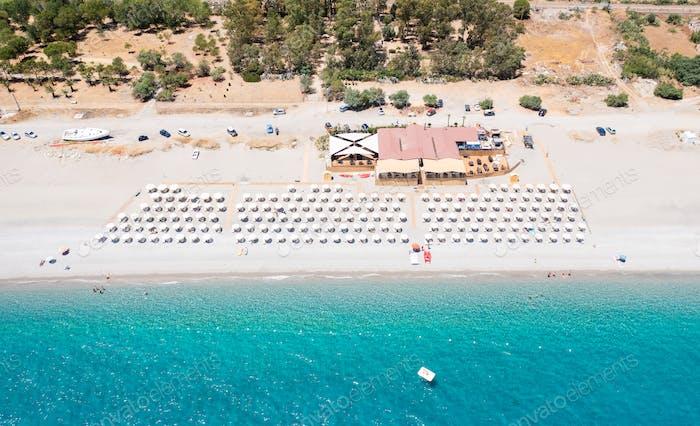 Aerial view of Locri costline on summer