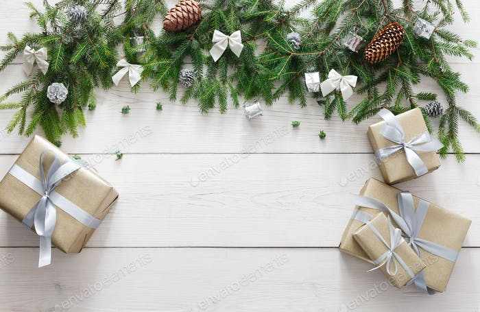 Christmas decoration, gift boxes and garland frame background