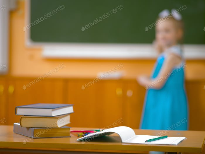 Little girl in school class at the lesson