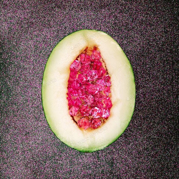 Glamorous Melon Stones Rhinestones Minimal art