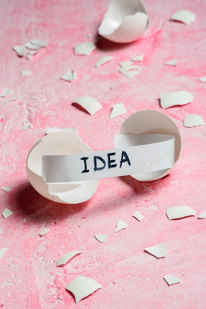 Birth of idea concept