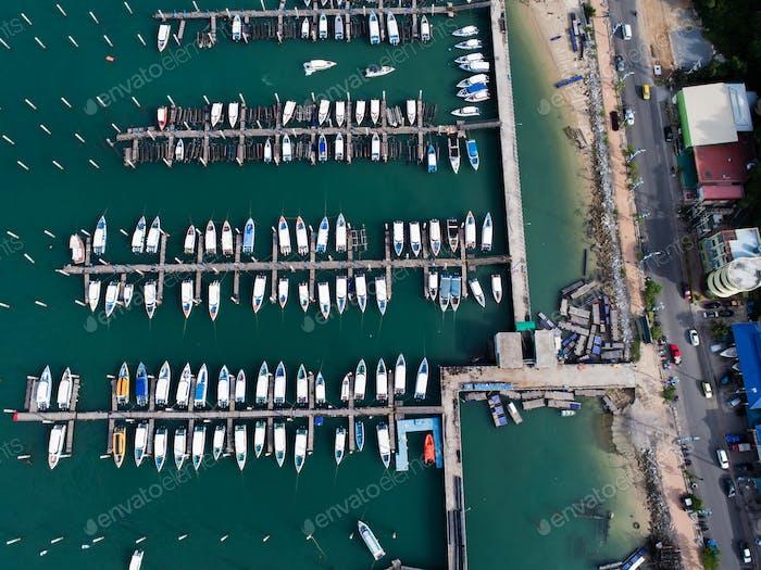 Aerial view of Pattaya beach . Thailand.