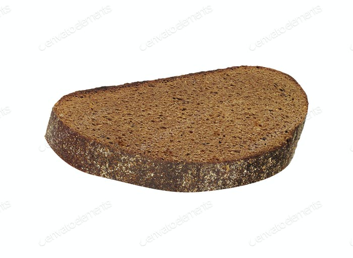 Slice of fresh rye bread isolated on white background