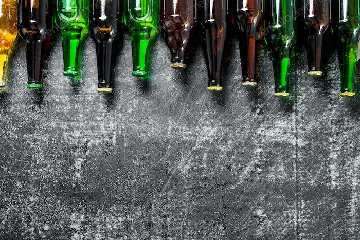 Closed beer bottles.