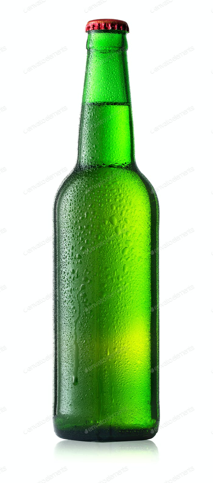 Green cold bottle of beer with drops