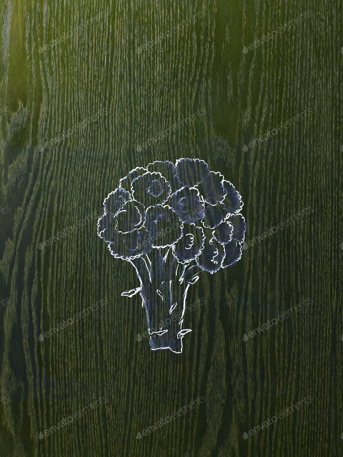 A line drawing image on a natural wood grain background.  A head of broccoli, florets and stem.