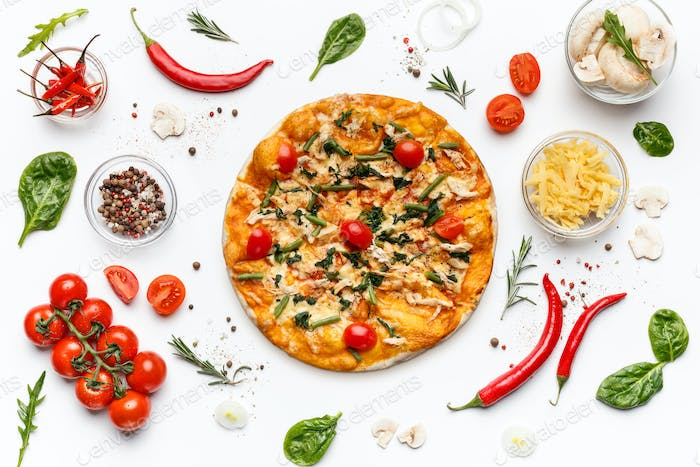 Italian pizza and various ingredients isolated on white