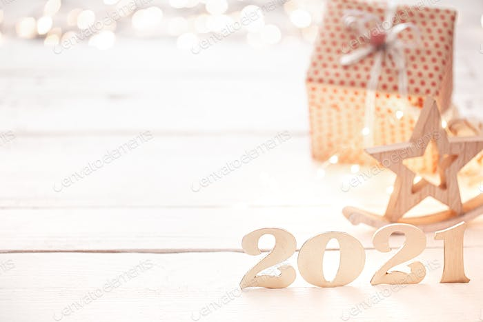 New year 2021 holiday background with new year decor