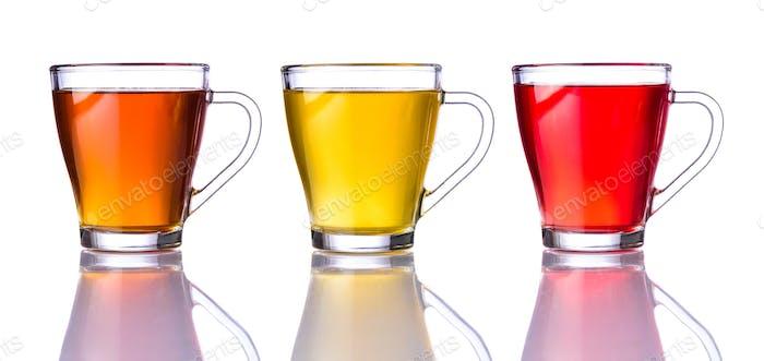 Three Types of Tea Isolated on White