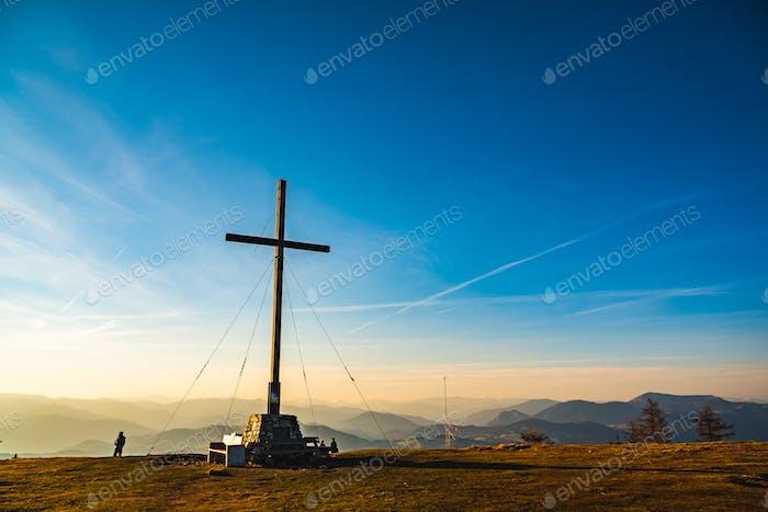 View from a peak of rocky Austrian mountain Schockl in Styria Graz
