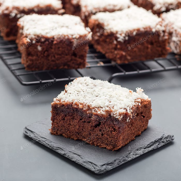 Homemade brownie with coconut flakes, swedish dessert Karleksmum
