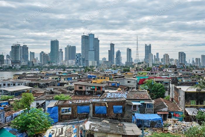 View of Mumbai skyline over slums in Bandra suburb