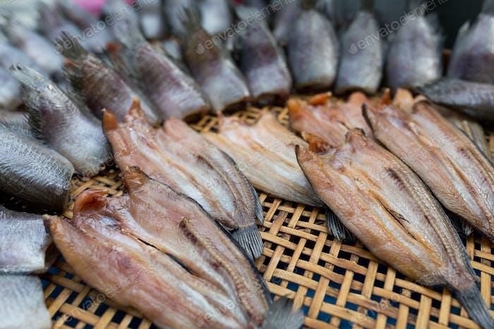 Dried fish in wet market