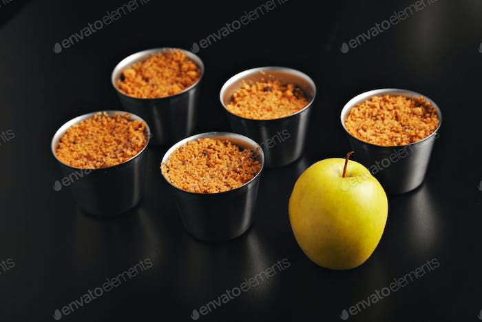 Apple crumble dessert with an