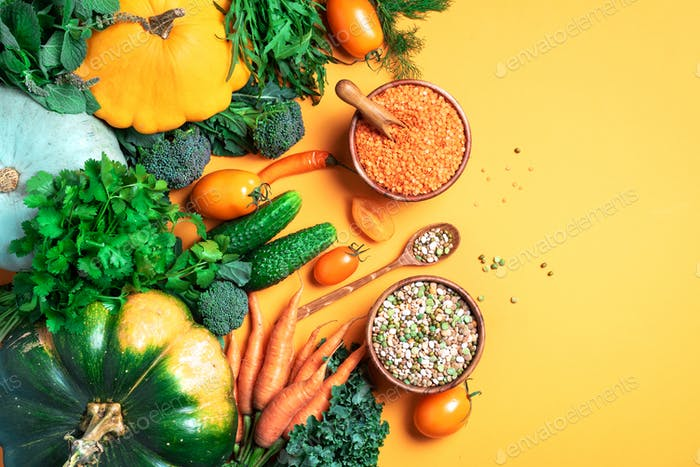 Vegan and vegetarian diet, harvest concept. Autumn vegetables, lentils, beans, raw ingredients for