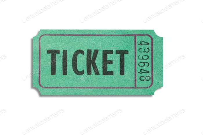Green color ticket isolated