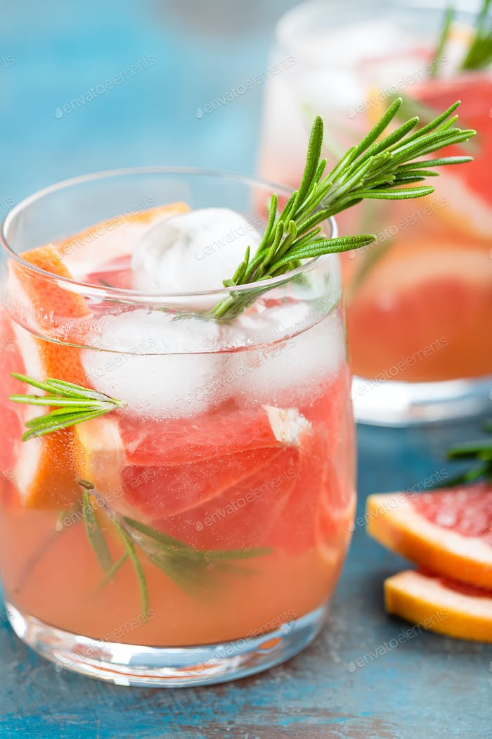 Thumbnail for Grapefruit and rosemary gin cocktail, refreshing drink with ice