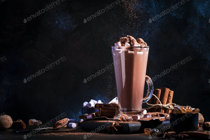 Glass of hot chocolate cocoa drink