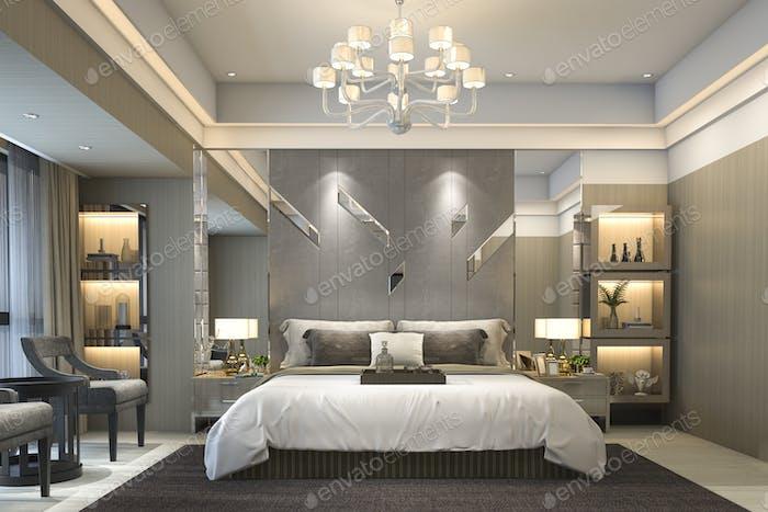 3D Rendering Luxus moderne Schlafzimmer-Suite im Hotel