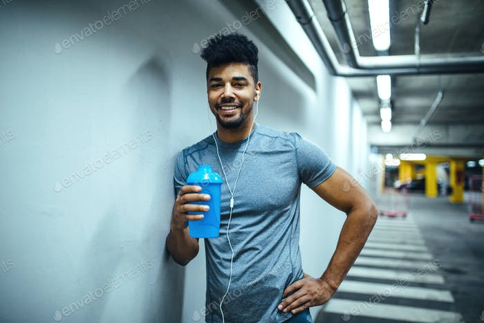 Staying hydrated during his workout
