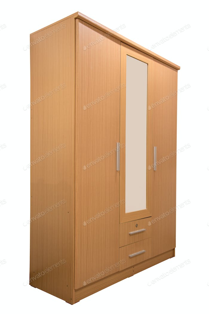 Wooden wardrobe with mirror isolated.
