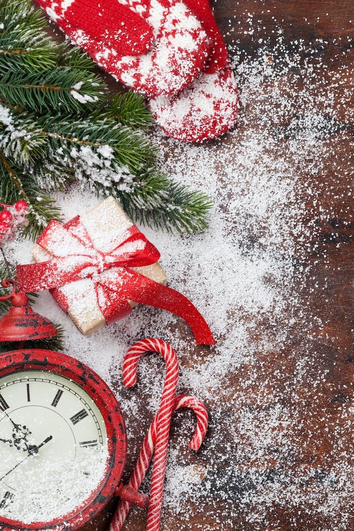 Christmas gift box and alarm clock