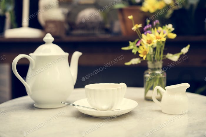 A white porcelain tea set