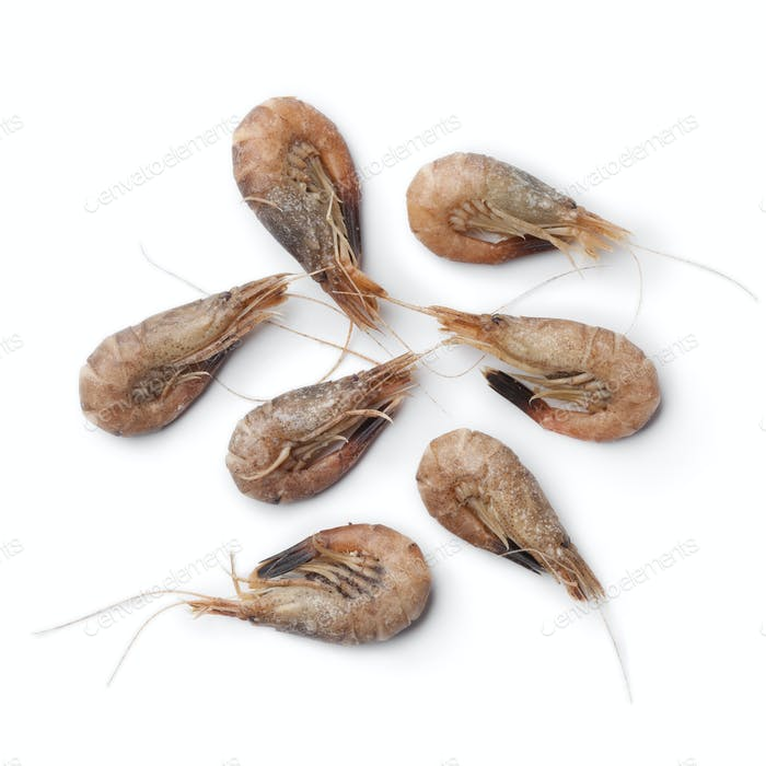 Unpeeled brown shrimps