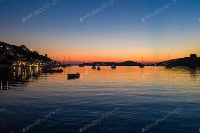 Kea Tzia island, Cyclades, Greece. Vourkari marina at sunset.