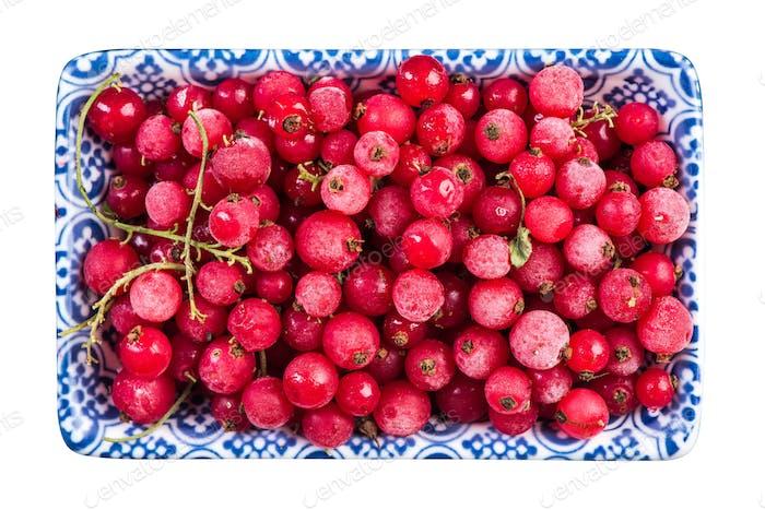 Frozen redcurrant fruints,close up