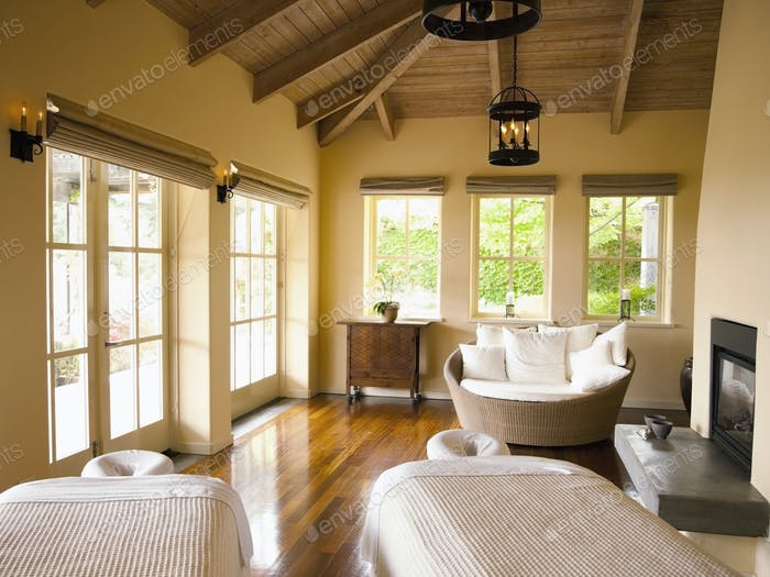 Empty couples massage room at a luxury spa and resort in Napa Valley, California