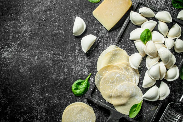 Raw dumpling and dough for making dumplings.