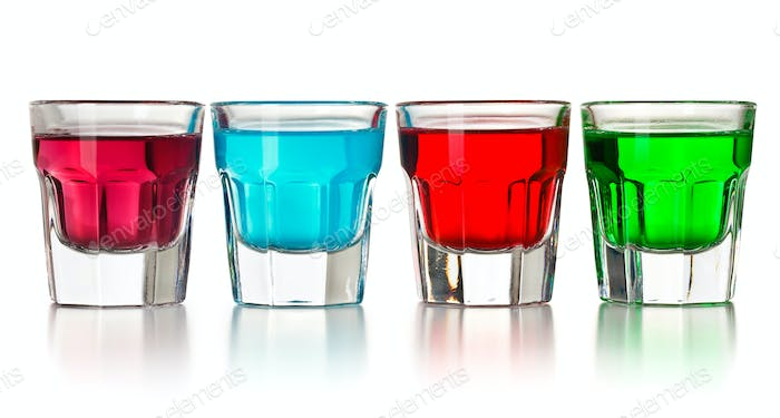 various colorful liquors