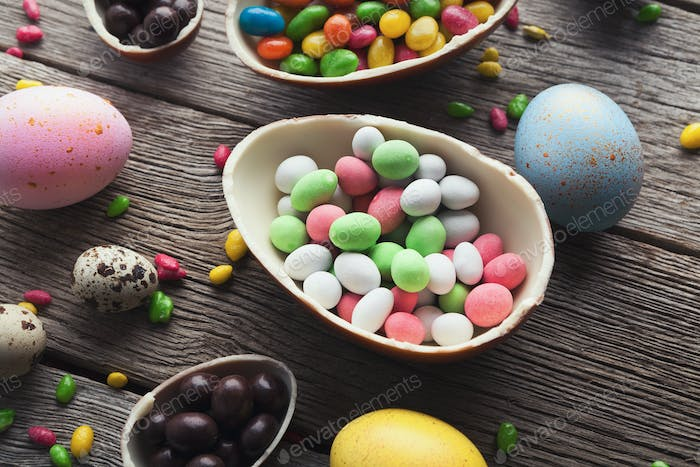 Chocolate egg with filling of colorful candies