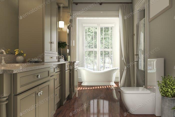 3d rendering classic bathroom with wood floor and garden view from window