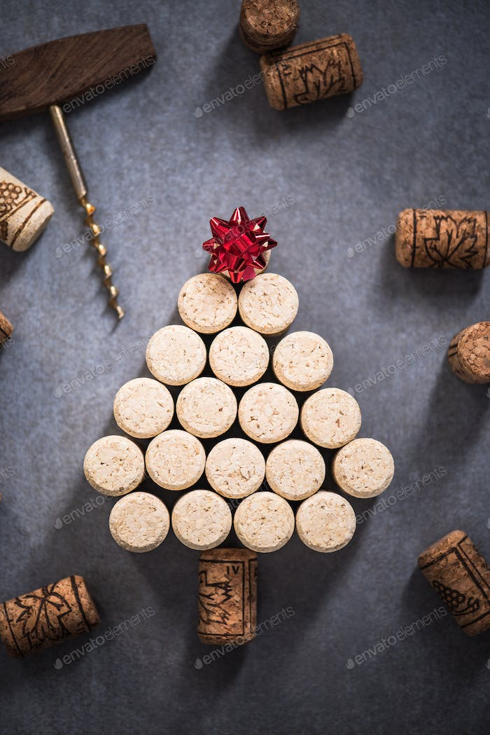 Christmas tree made from natural wine corks