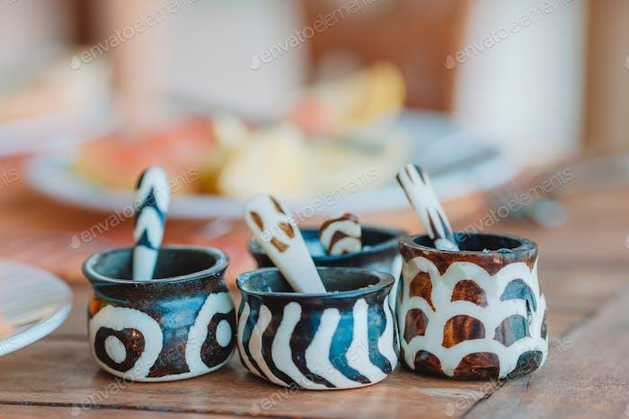 African national seasoning salt and pepper shakers on breakfast