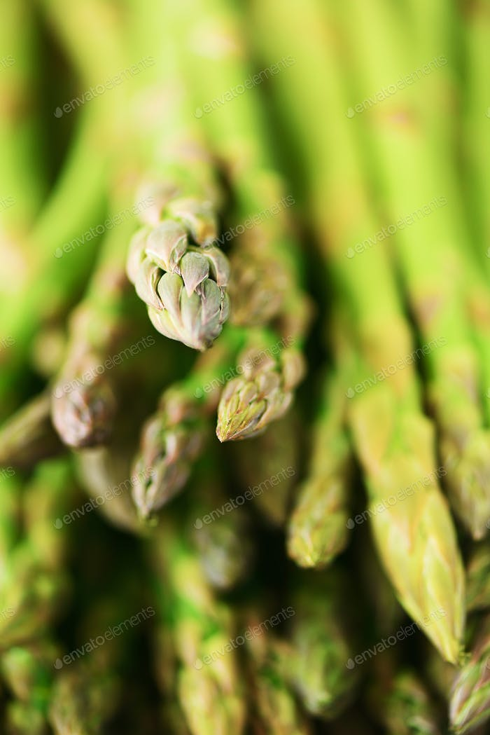 Close up of fresh asparagus. Clean and healthy eating concept. Macro texture of asparagus. Selective