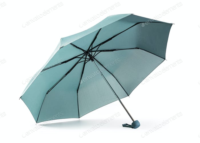 Blue umbrella on white background