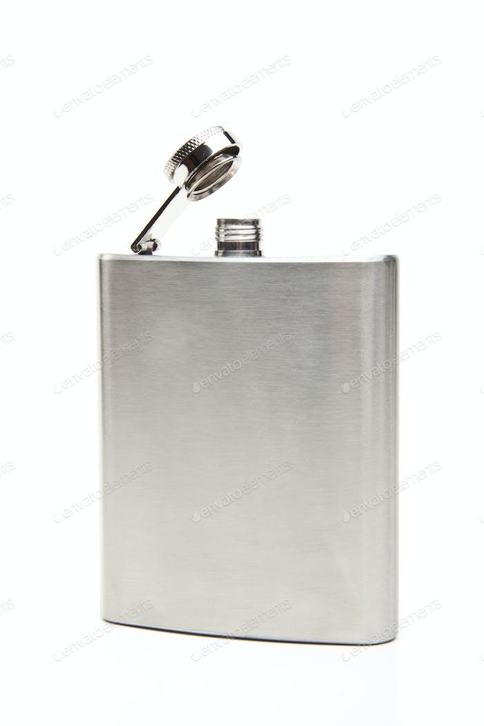 Whiskey flask isolated on white background