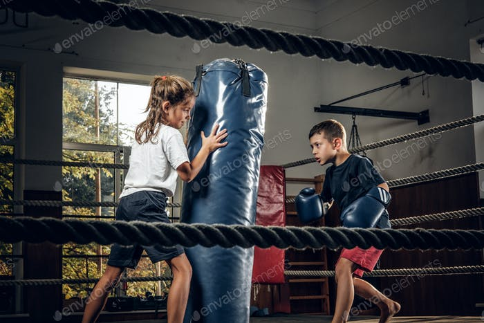 Funny boy got his private training with expirienced trainer on the ring