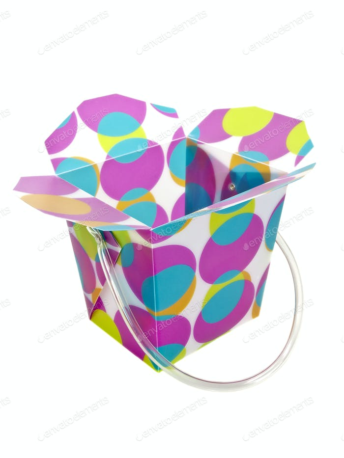 Colorful open plastic box