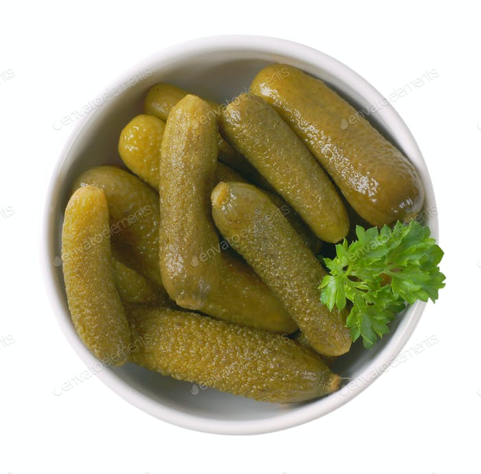 bowl of pickled cucumbers