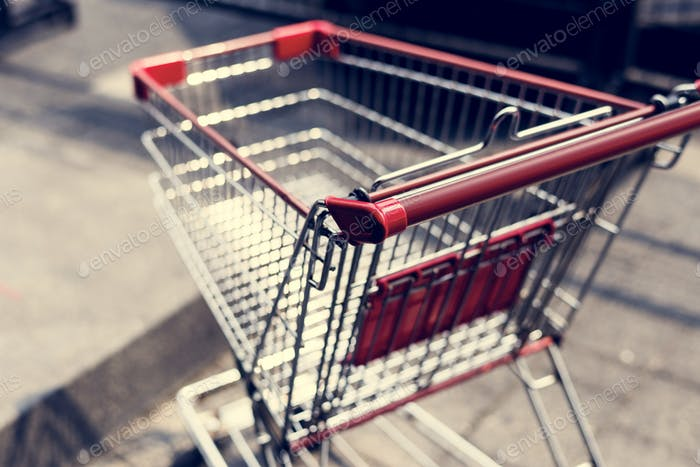 Empty shopping trolley left outside