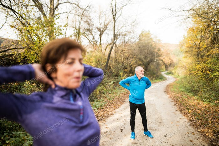 Thumbnail for Senior couple running outside in sunny autumn forest, stretching