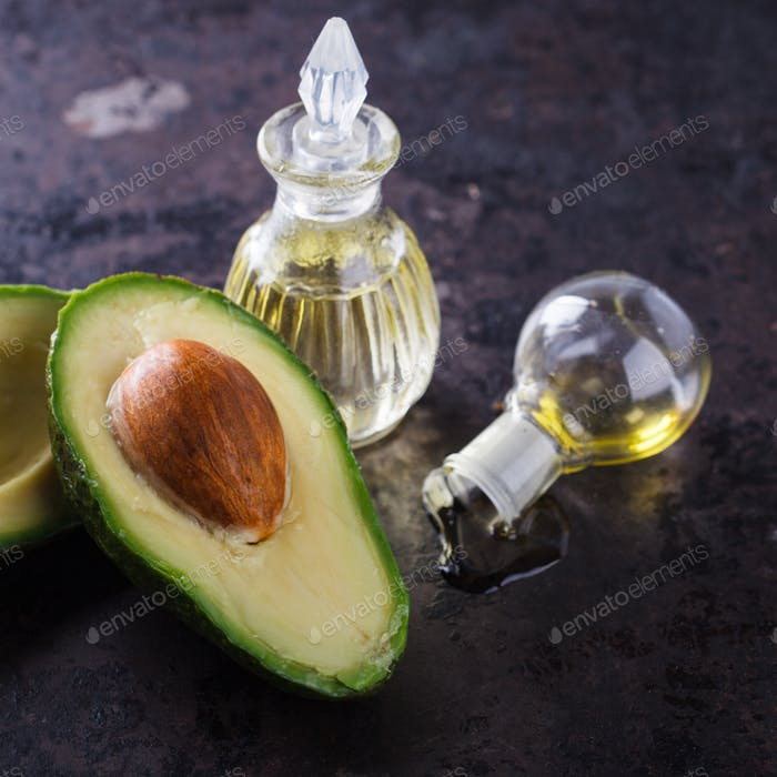 Avocado oil on a dark background