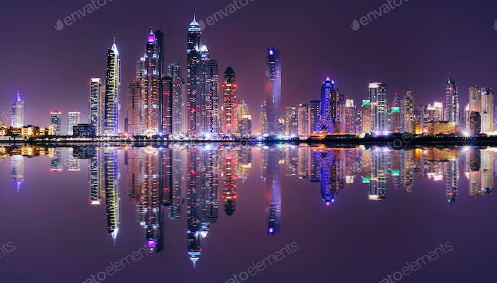 Amazing night panorama of Dubai Marina, Dubai, United Arab Emirates
